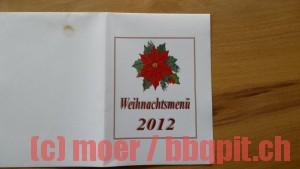 Vorderseite Menükarte Weihnachtsabend 2012